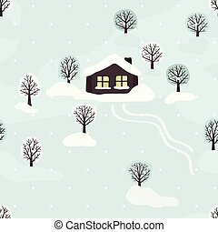 paysage, hiver, cabine