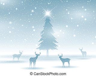 paysage, hiver, cerf