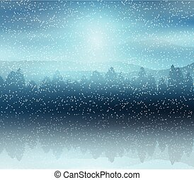 paysage, hiver, fond, forêt