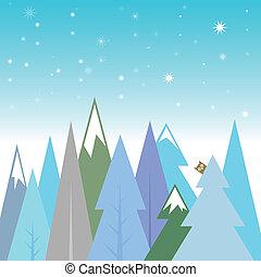 paysage, hiver, fond