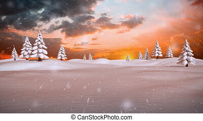 paysage, hiver, neige, tomber