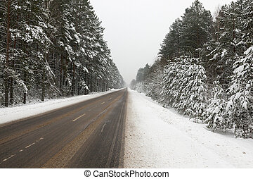 paysage, hiver, route