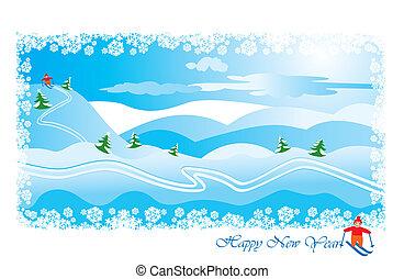 paysage hiver, skieur