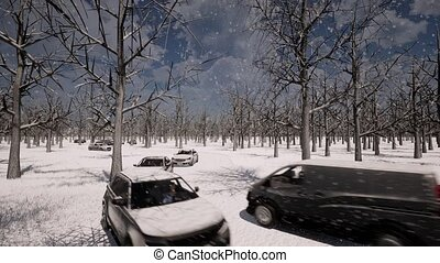 paysage hiver, trafic, neige, route