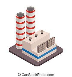 paysage., icon., industriel, isométrique, bâtiments, vecteur, usine