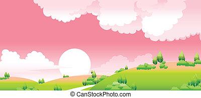 paysage, idyllique, coucher soleil, vert