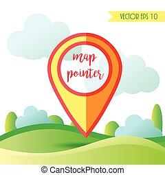 paysage, illustration, à, pin., vecteur, emplacement, indicateur, icon.