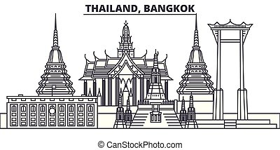paysage., illustration., cityscape, repères, vues, vecteur, célèbre, bangkok, ligne, horizon, ville, linéaire, thaïlande