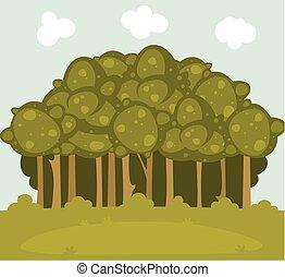 paysage, illustration, clairière, forêt