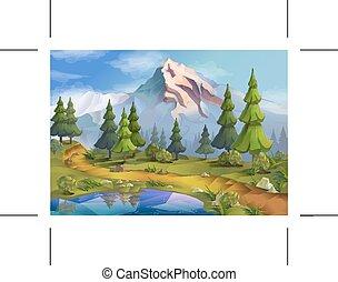 paysage, illustration, nature