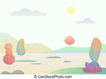 paysage, illustration., nature, simple, moderne, automne, fantasme, vecteur, dessin animé, gradient