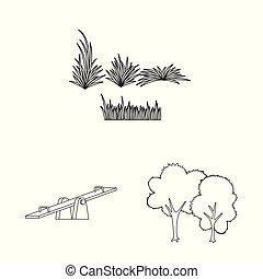 paysage, illustration, symbole, vecteur, collection, stockage, web., ville, nature, logo.