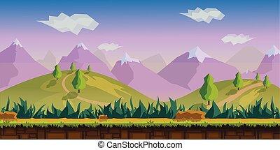 paysage, illustration, vecteur