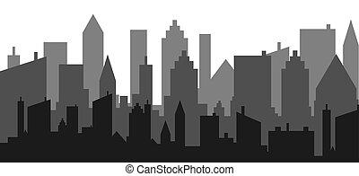 paysage., illustration., vue, horizon, vecteur, ville, gratte-ciel, conception, urbain, silhouette