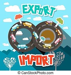 paysage., infinité, résumé, companies., camionnage, exportation, vecteur, conception, importation, transport, route
