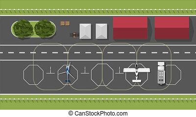 paysage., infrastructure, aerodrome., civil, sommet, style., aérodrome, aéroport, aircrart, hélicoptère, piste, vue., dessin animé, aviation