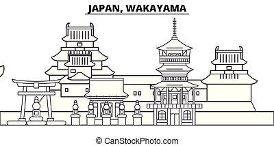 paysage., japon, cityscape, illustration., wakayama, vecteur, repères, vues, célèbre, ligne, horizon, ville, linéaire