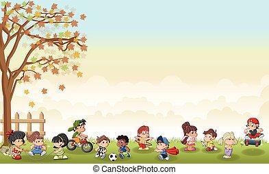 paysage, jouer, mignon, dessin animé, herbe, gosses, vert