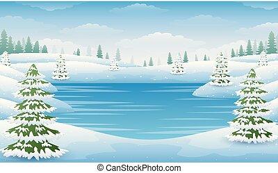 paysage, lac, arbres, hiver, surgelé, sapin