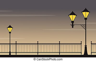 paysage, lampe, rue, nuit