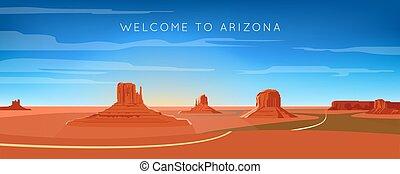 paysage, large, vallée, monument, panorama