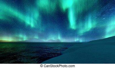 paysage, lumières, ciel, nuit, nord, hiver