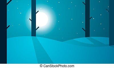 paysage., lune, étoile, voyage, arbre, montagne, nuit, dessin animé, route