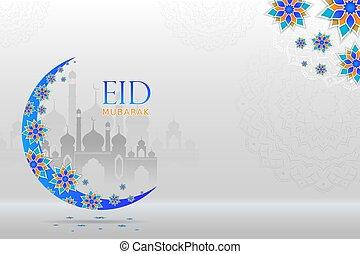 paysage, lune, mubarak, advertise., beau, voeux, floral, eid, salutation, fond, promotionnel, masjid
