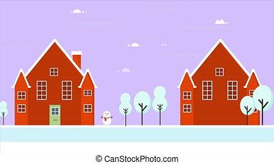 paysage., métrage, hiver, joyeux noël