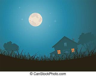 paysage, maison, clair lune