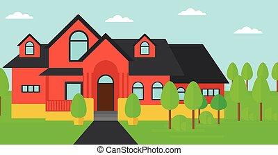 paysage, maison, fond, pathway., beau, rouges