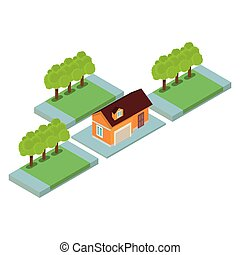 paysage, maison, isométrique