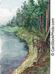 paysage., majestueux, impeccable, nord, rivière, aquarelle, ...