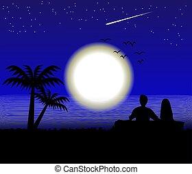 paysage, mer, lune, vue