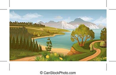 paysage, mer, nature, baie, vecteur, fond