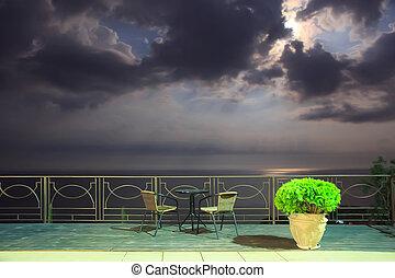 paysage, mer, nuit