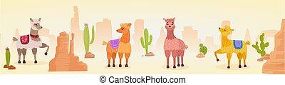 paysage, mignon, dessin animé, main, dessiné, illustration, caractère, panorama, lamas, vecteur, artistique