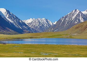 paysage montagne, à, lac