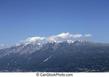 paysage, montagne, à, neige