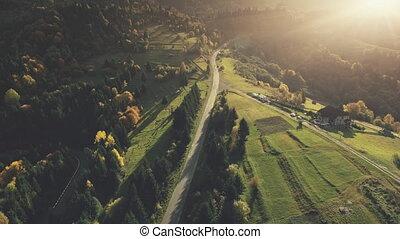 paysage, montagne, aérien, carpathian, longue route, vue