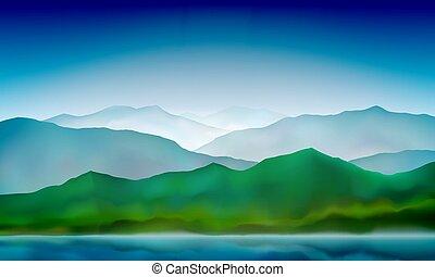 paysage montagne, collines, nature, paysage., vert, lac, coloré, arrière-plan., bleu, vecteur