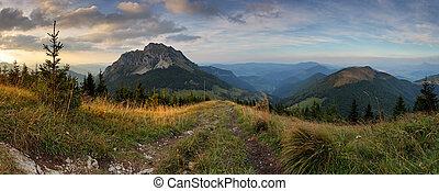 paysage, montagne, coucher soleil, automne, panoramique, rozsutec