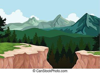 paysage montagne, fond, falaise