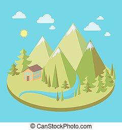paysage montagne, illustration