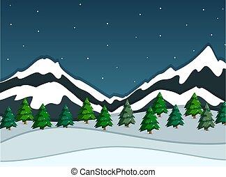 paysage montagne, neigeux