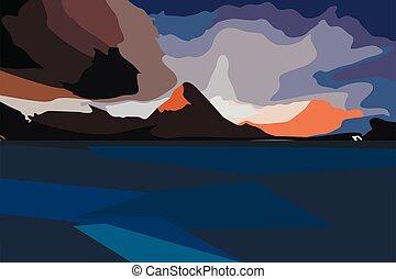 paysage montagne, nuages, beau
