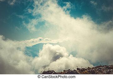 paysage, montagne, nuages, ciel, sommet, fond, mystérieux, brumeux, vue aérienne