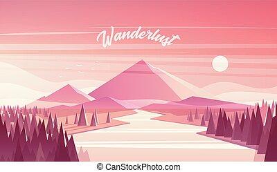 paysage montagne, sapin, forêt, rivière, coucher soleil, vecteur