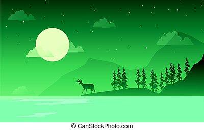 paysage, montagne, silhouettes, nuit