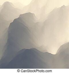 paysage., montagne, terrain., montagneux, design.